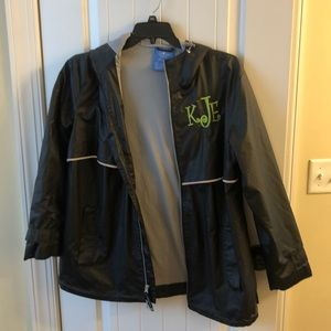 Charles River black rain jacket with initials XL